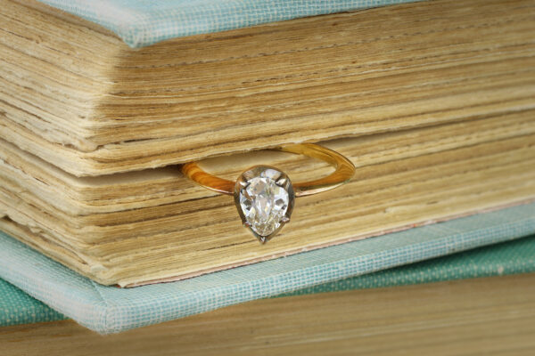 Old Cut Pear Shaped Diamond Ring