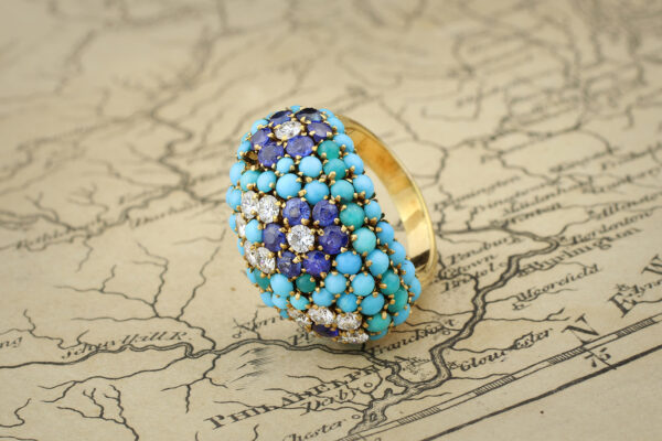 Van Cleef & Arpels Diamond, Sapphire And Turquoise Ring