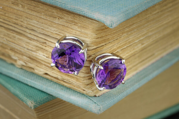 Platinum And Amethyst Stud Earrings