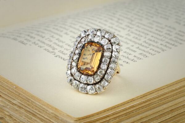 Antique Topaz And Diamond Ring