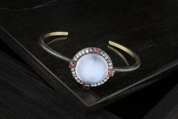 Moonstone, Diamond And Ruby Bracelet