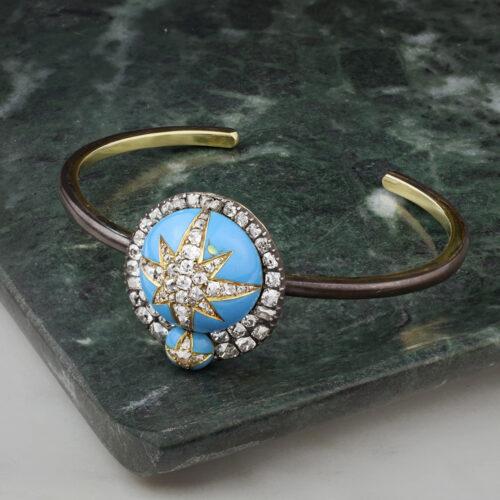 Enamel and Diamond Bangle Bracelet