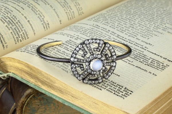 A Moonstone And Diamond Bangle Bracelet
