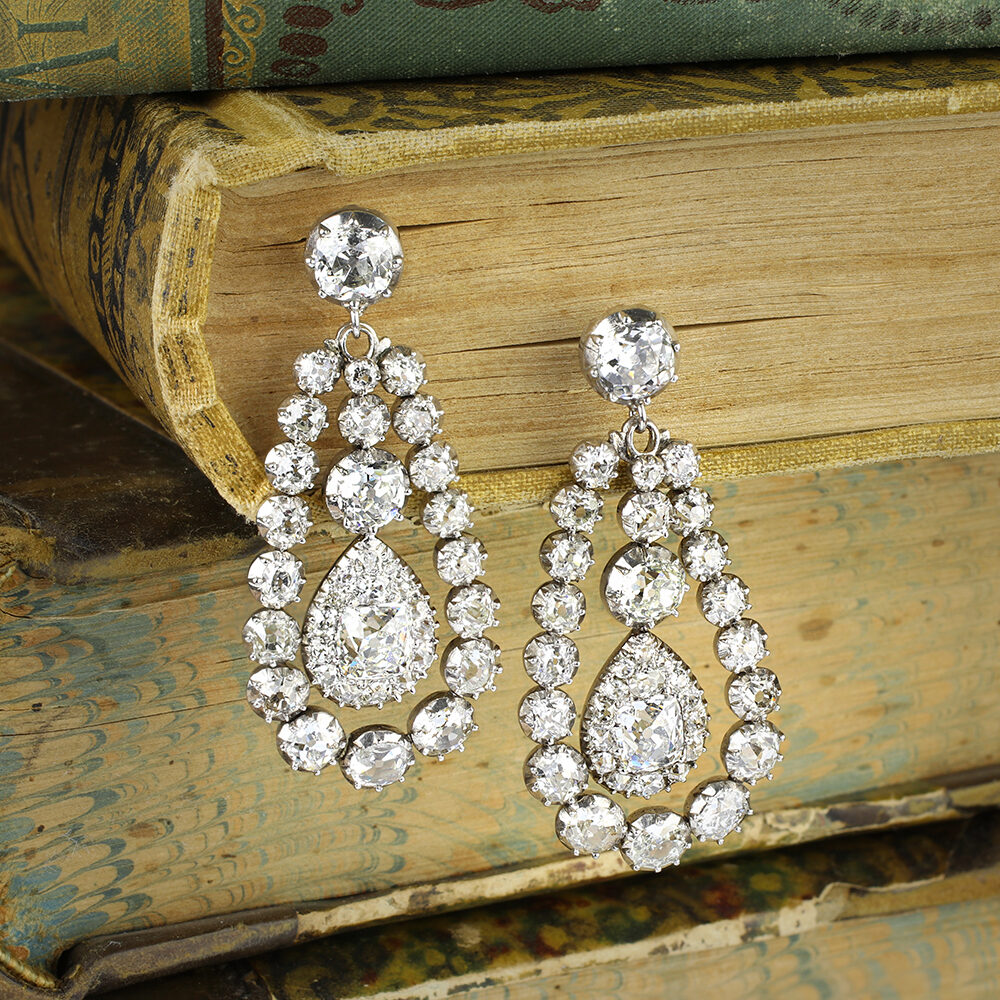 Antique Diamond Set Ear Pendants