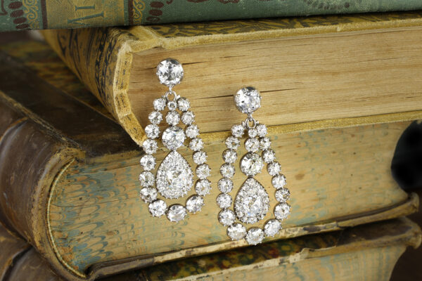 Antique Diamond Set Ear Pendants