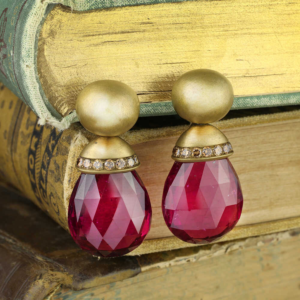 Hemmerle Rubellite and Colored Diamond Ear Pendants