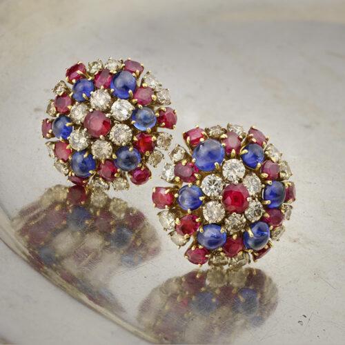 Bulgari Sapphire, Ruby and Diamond Ear Clips