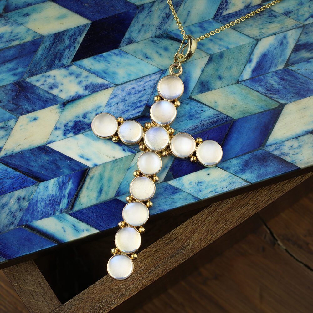 Moonstone and Gold Cross Pendant