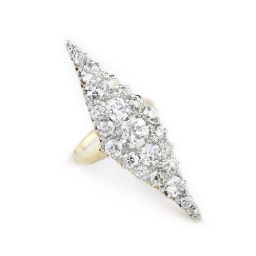 An Antique Diamond Set Plaque Ring