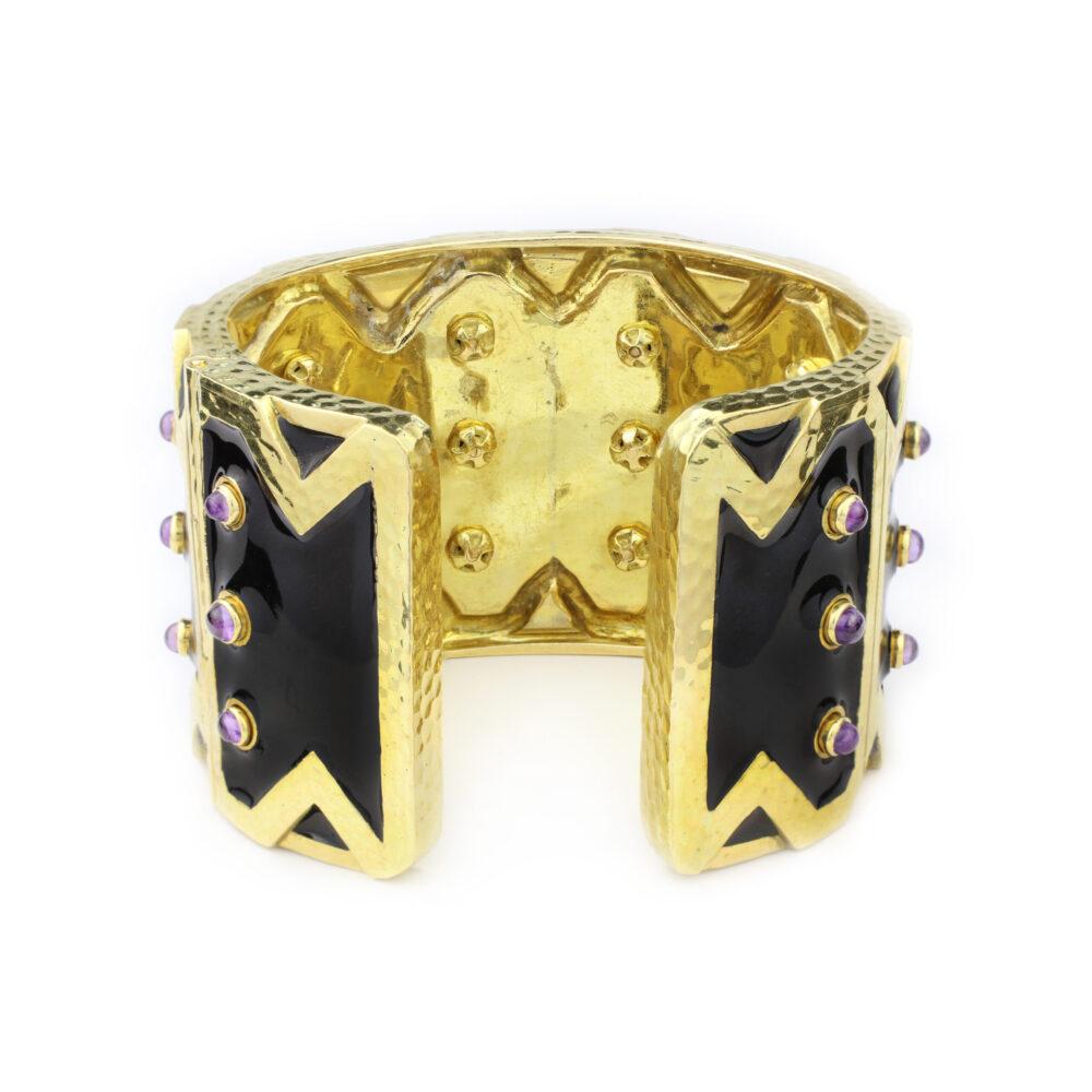 David Webb Enamel, Amethyst and Gold Cuff Bracelet