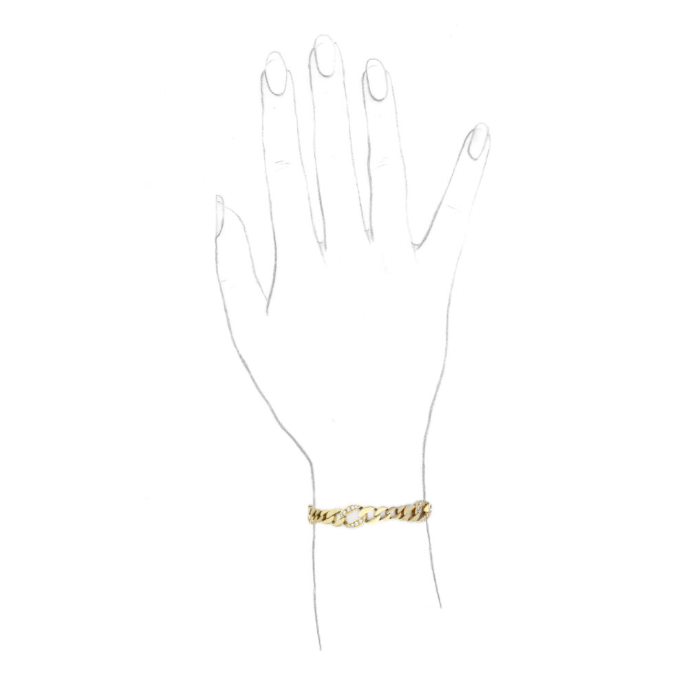 Van Cleef & Arpels Diamond Set Gold Chain Bracelet