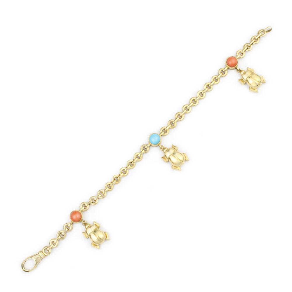 Cartier Multi-Gem Gold Charm Bracelet