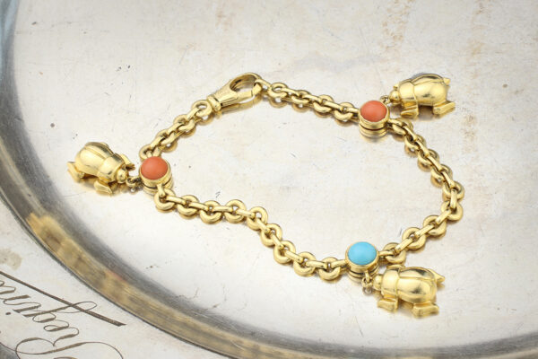Cartier Multi-Gem Gold Charm Bracelet