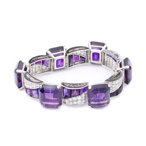 Amethyst, Diamond and Platinum Bracelet