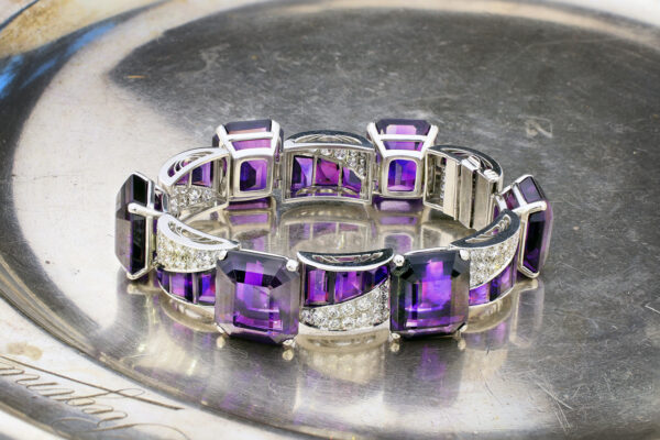 Amethyst, Diamond And Platinum Bracelet