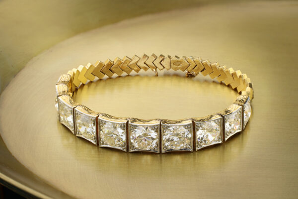 Old Cut Diamond, Platinum And Gold Bracelet