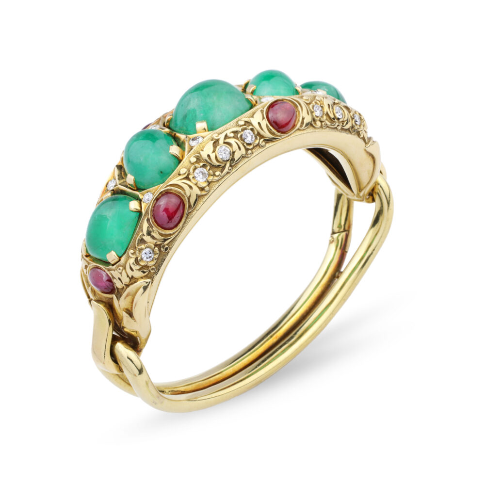 Cartier Emerald, Ruby and Diamond Bangle Bracelet