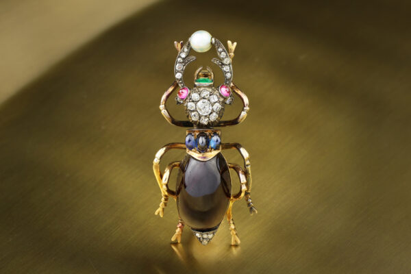 Antique Multi-Gem Beetle Brooch