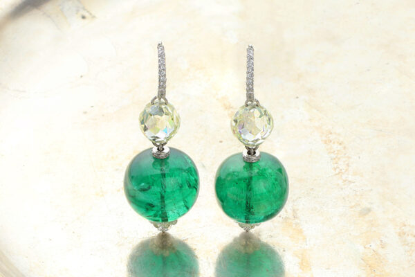 BHAGAT Emerald And Diamond Ear Pendants» Price On Request «