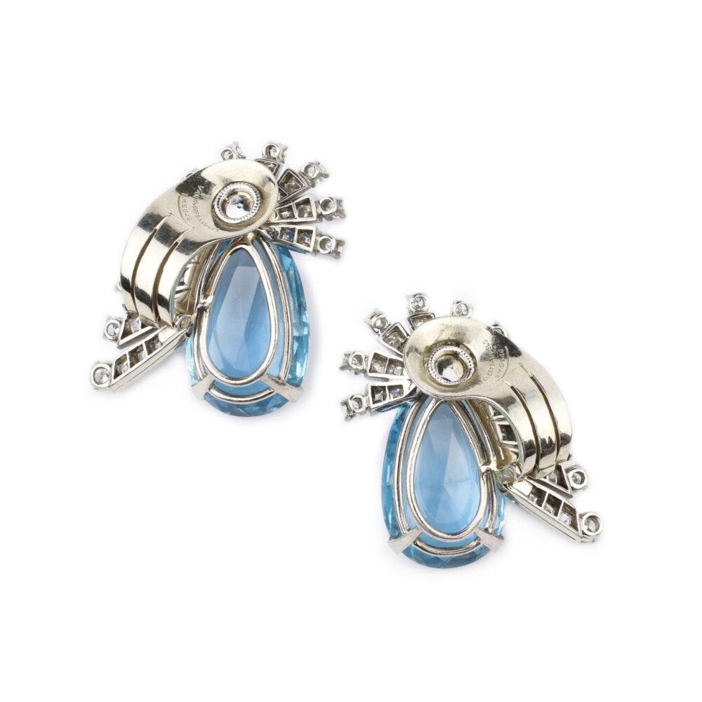 Van Cleef & Arpels, Aquamarine and Diamond Ear Clips
