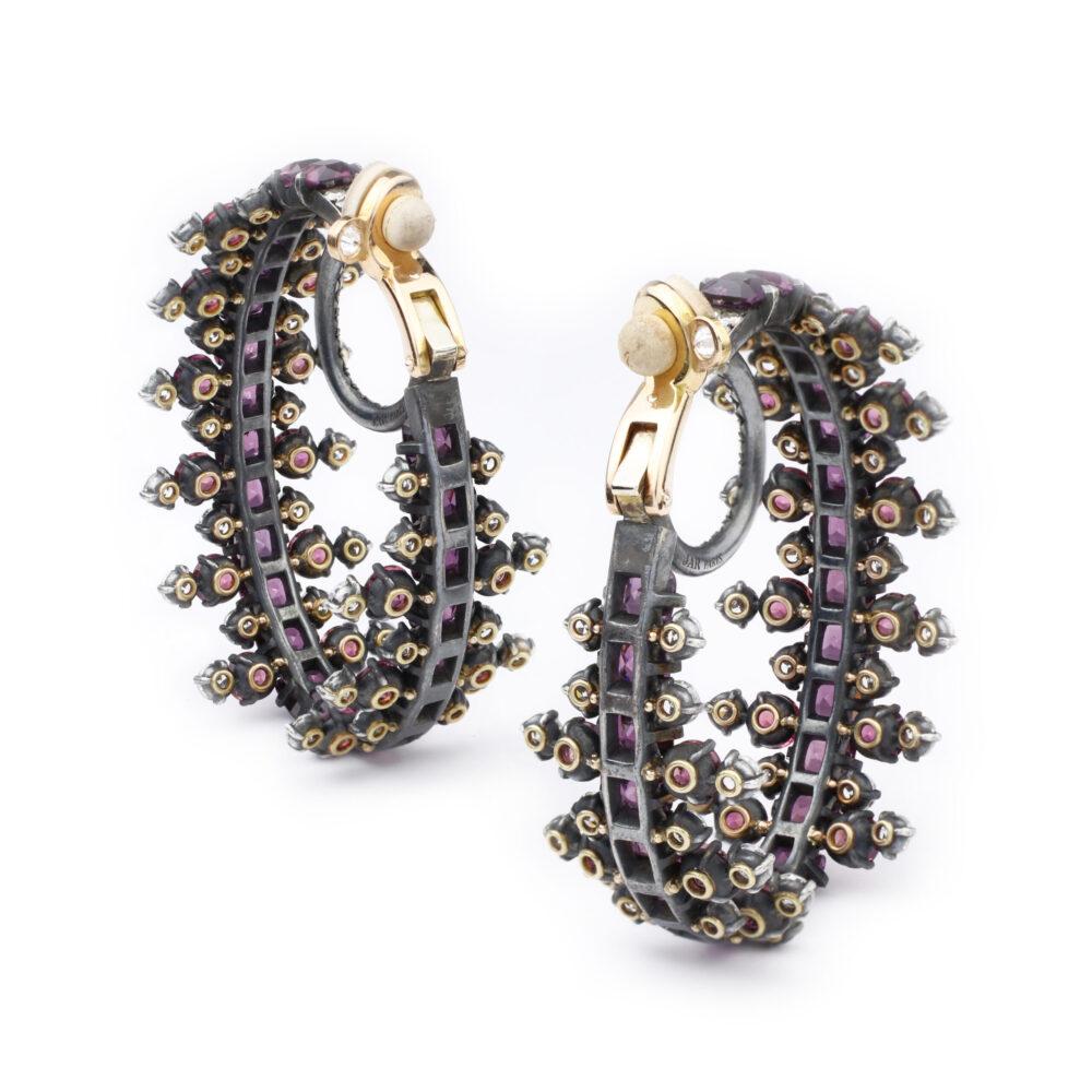 JAR Colored Sapphire and Diamond Hoop Ear Clips