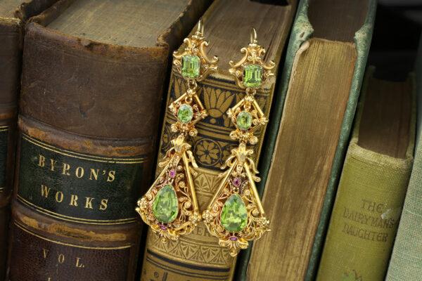 Antique Gem-set Gold Ear Pendants