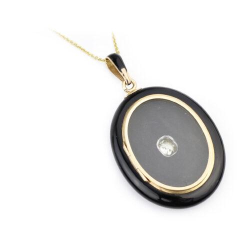 Antique Onyx, Diamond and Gold Locket Pendant