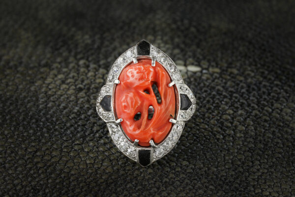 Art Deco Carved Coral, Onyx And Diamond Ring