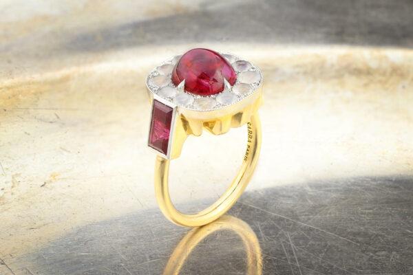 SABBA Burmese Ruby, Agate And Diamond Ring