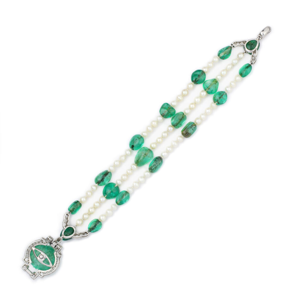 Cartier, Art Deco Emerald, Natural Pearl and Diamond Bracelet
