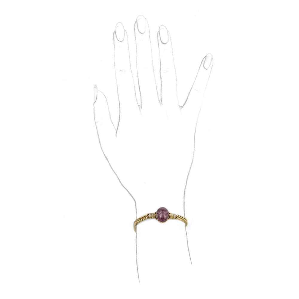 An Egyptian Revival Gold, Diamond and Carved Garnet Scarab Bracelet