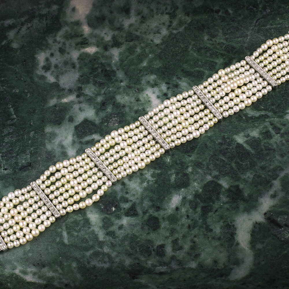 Seed Pearl and Diamond Bracelet