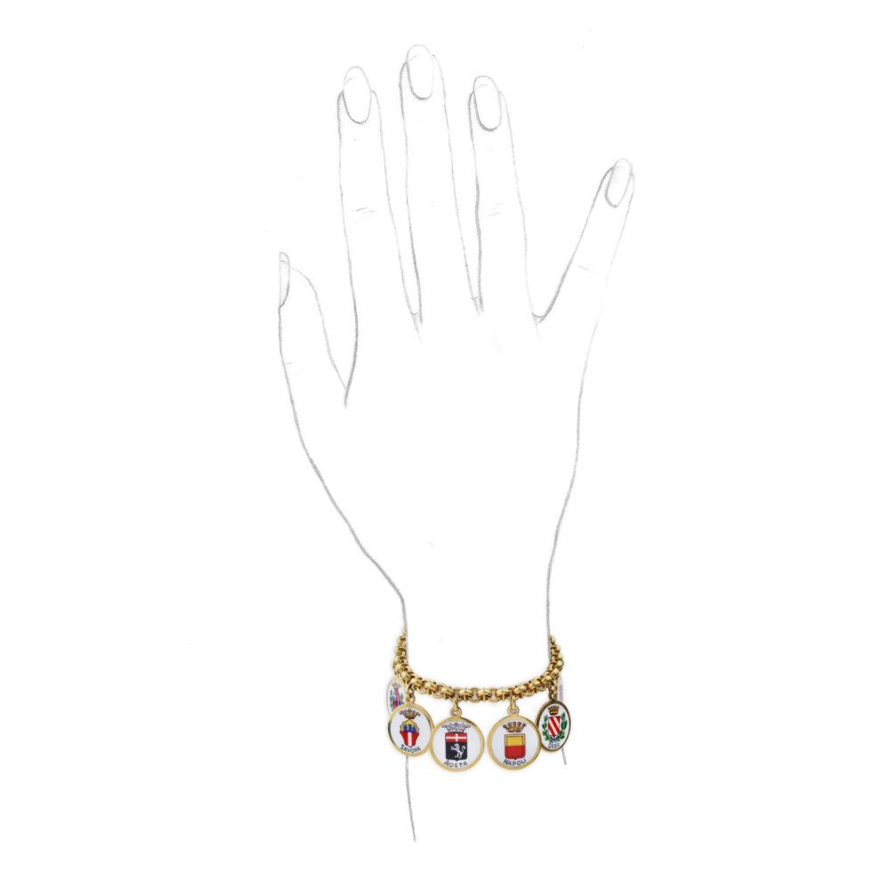 A Gold and Enamel Charm Bracelet