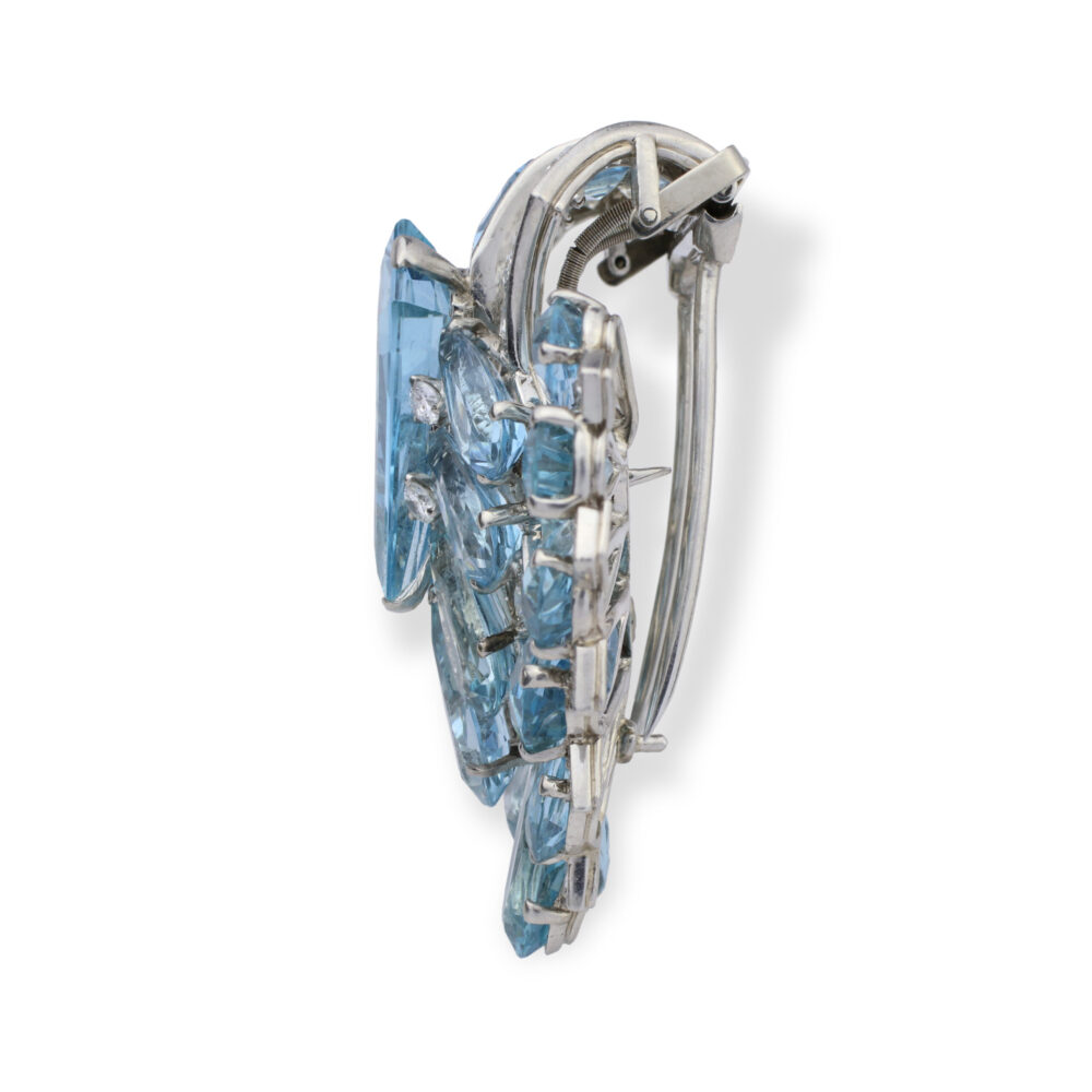Cartier Art Deco Aquamarine and Diamond Clip Brooch