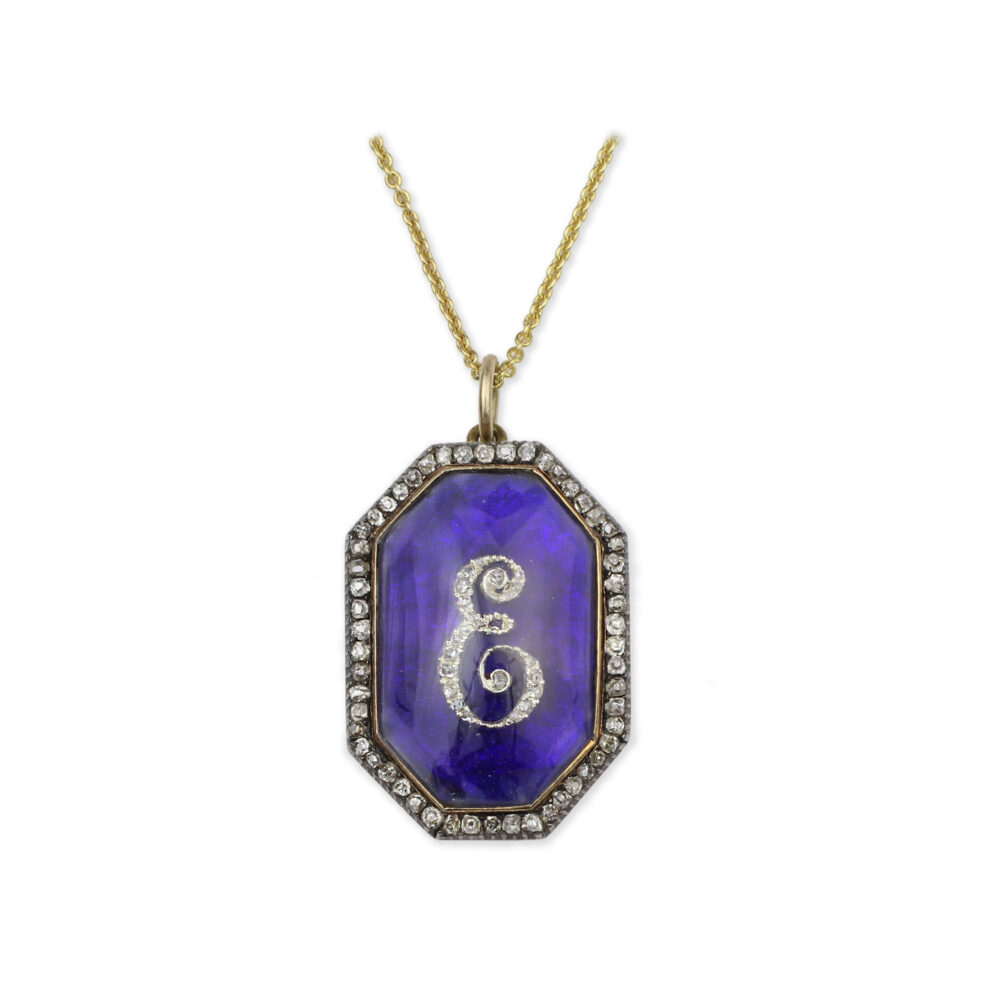 Diamond and Enamel Monogram Pendant