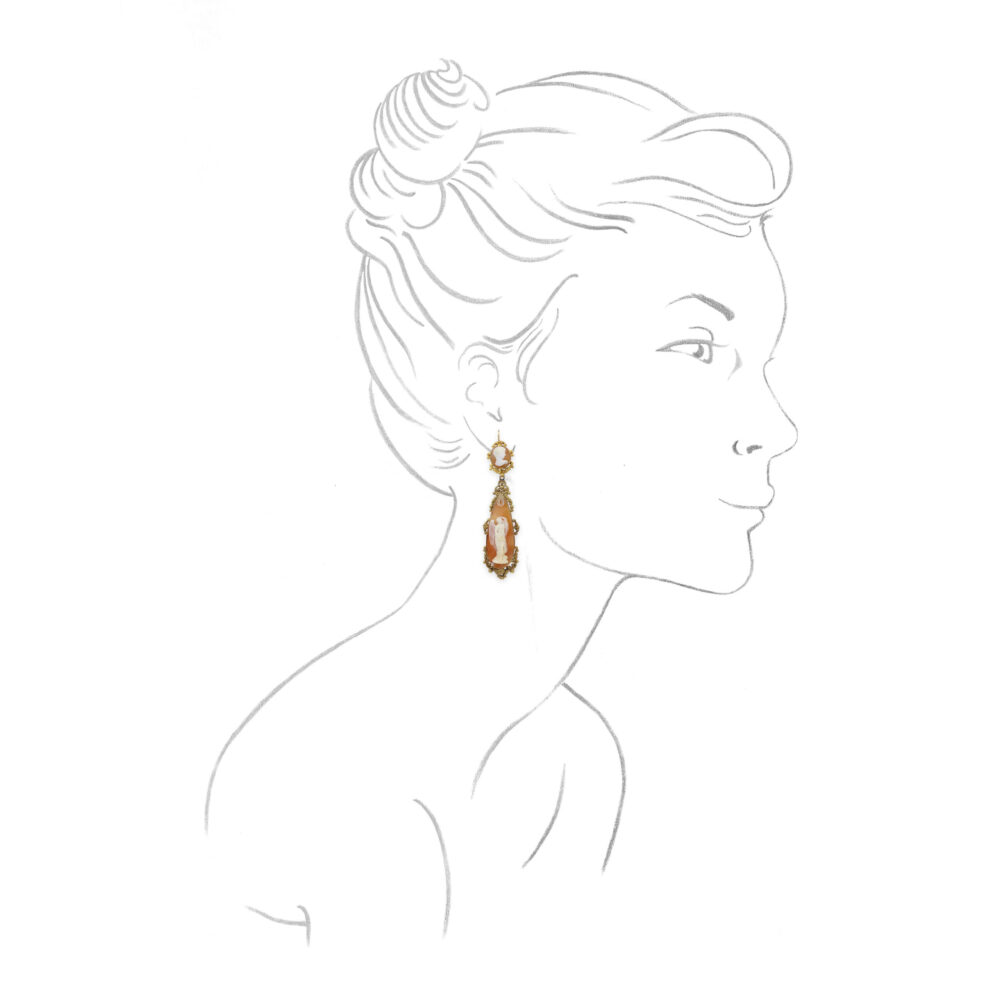 Antique Shell Cameo Ear Pendants