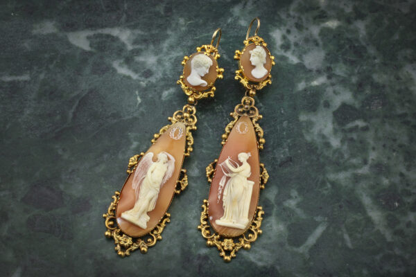 Antique Shell Cameo Ear Pendants