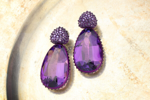 Hemmerle Amethyst And Spinel Ear Pendants