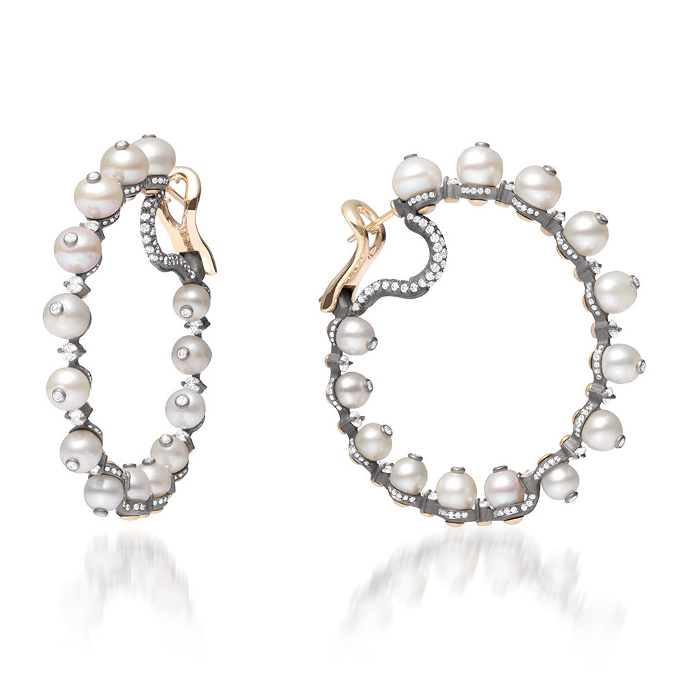 Natural Pearl and Diamond Hoop Earrings