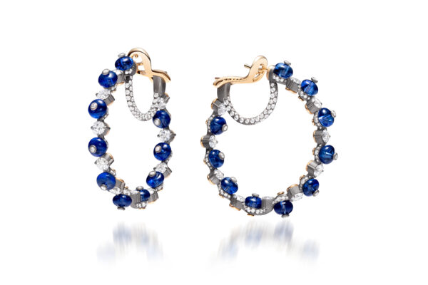 Blue Sapphire And Diamond Hoop Earrings