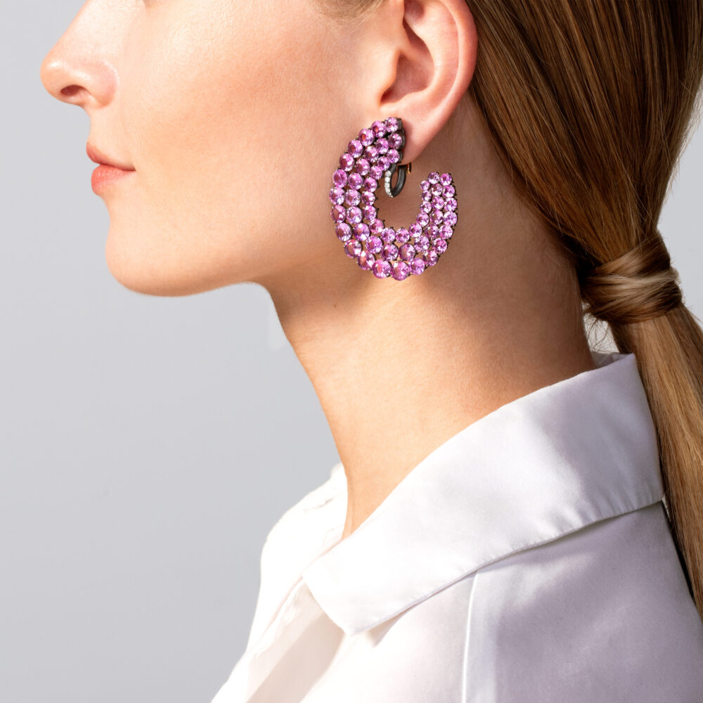 Pink Sapphire and Diamond Creole Ear Clips