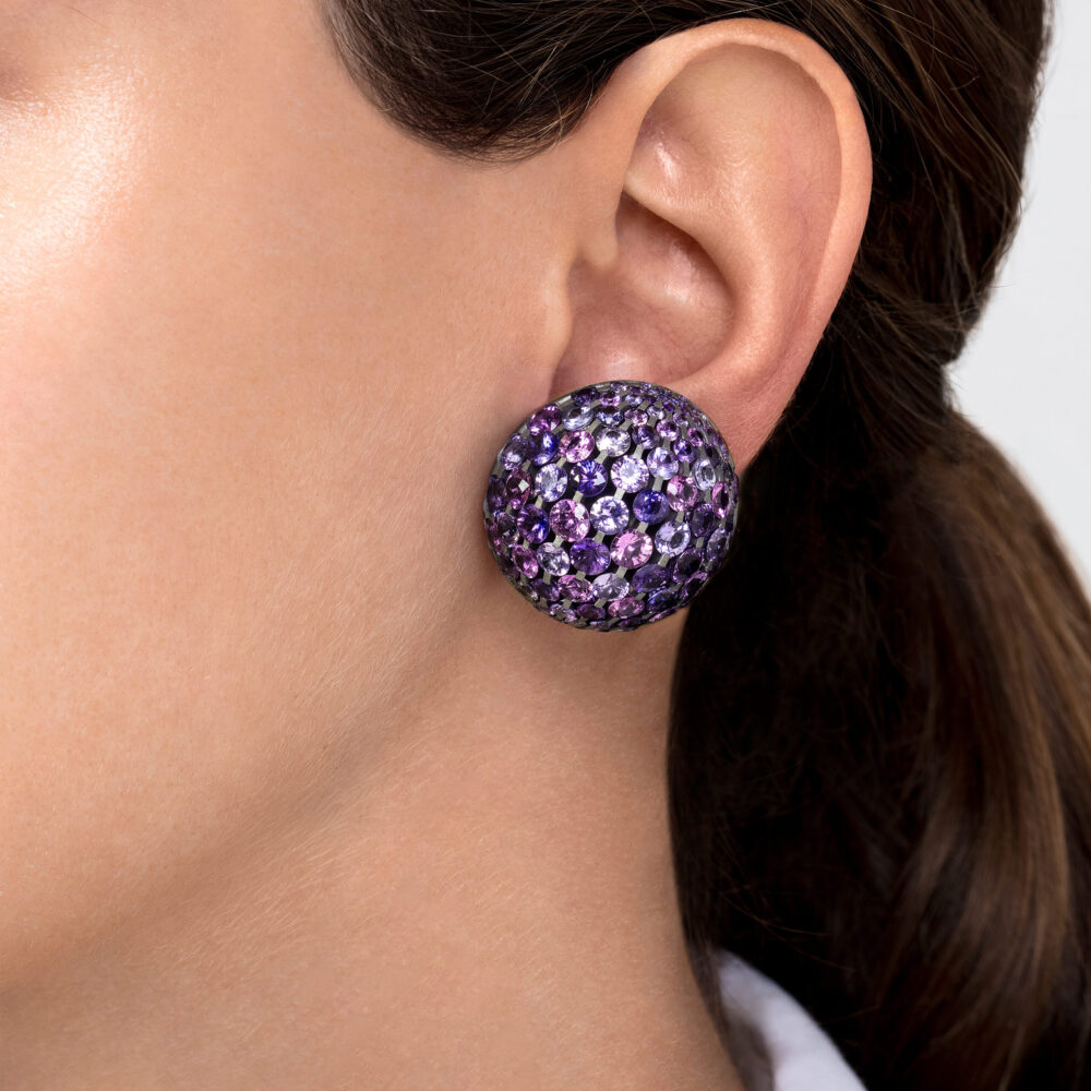 Violet Sapphire Dome Ear Clips