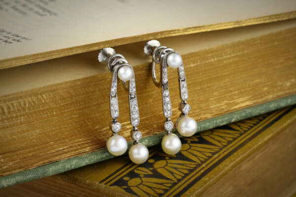 Cartier Belle Epoque Pearl And Diamond Ear Pendants