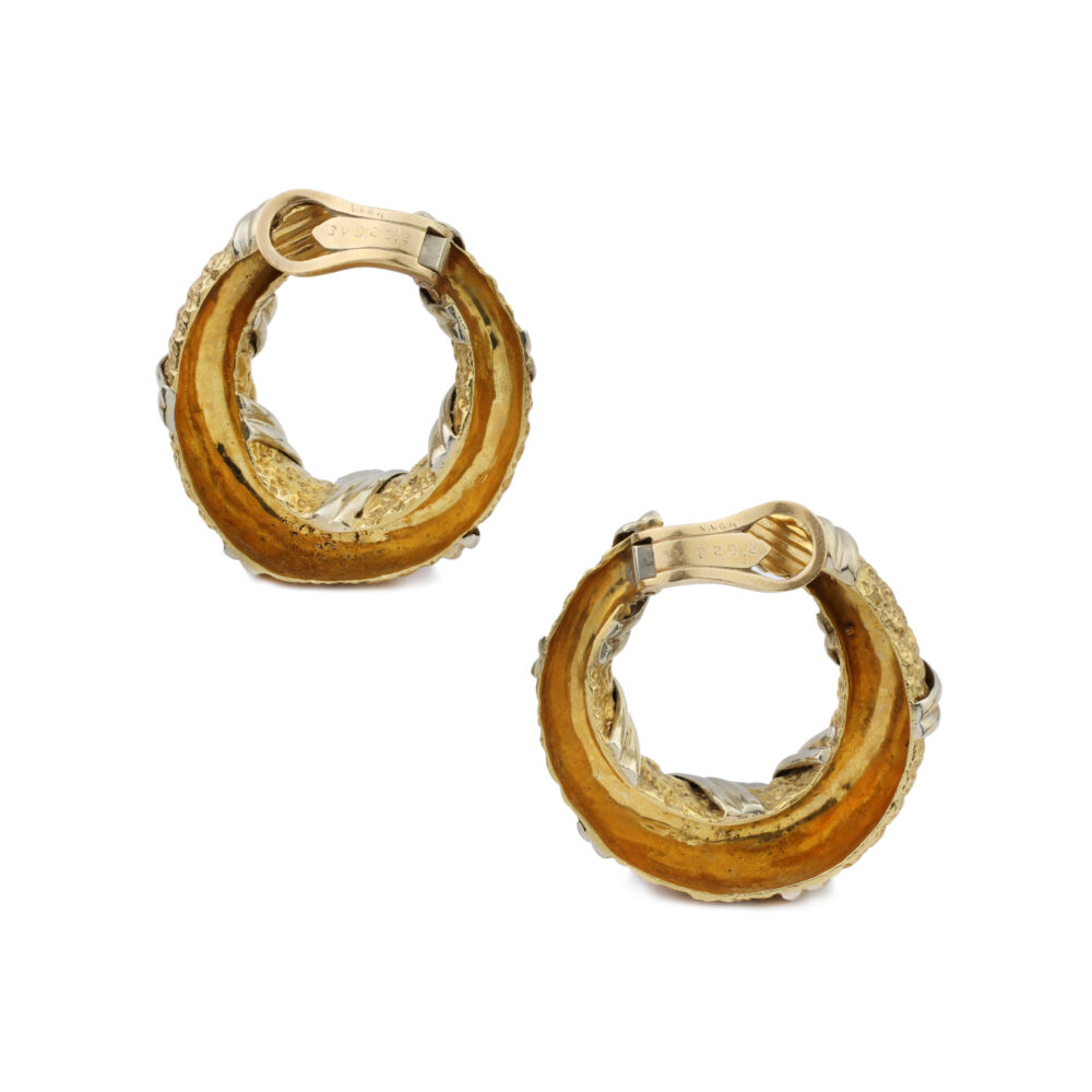 Van Cleef & Arpels Two-Tone Gold Hoop Ear Clips