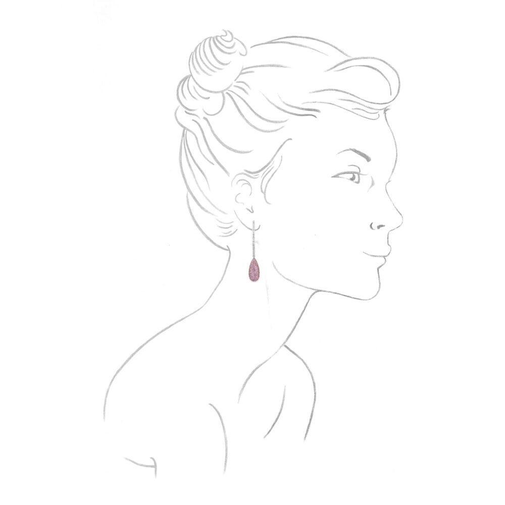 Chopard Diamond and Pink Sapphire Ear Pendants