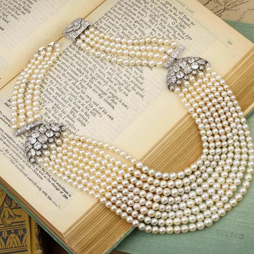 Multi-Strand Natural Pearl and Diamond Necklace