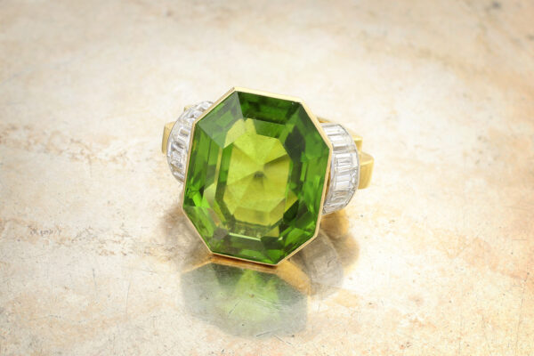 A Peridot And Diamond Ring