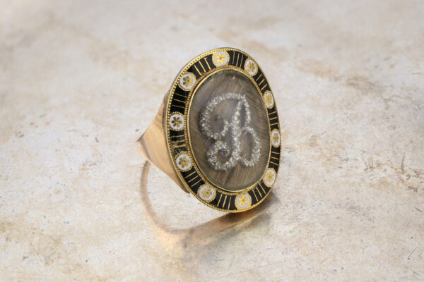 Antique Diamond, Rock Crystal And Enamel Mourning Ring