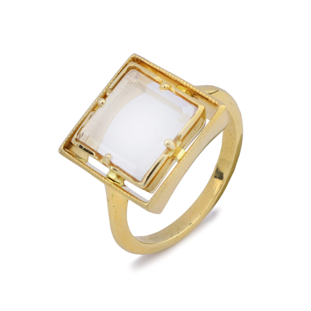 Square-cut Portrait Diamond Ring