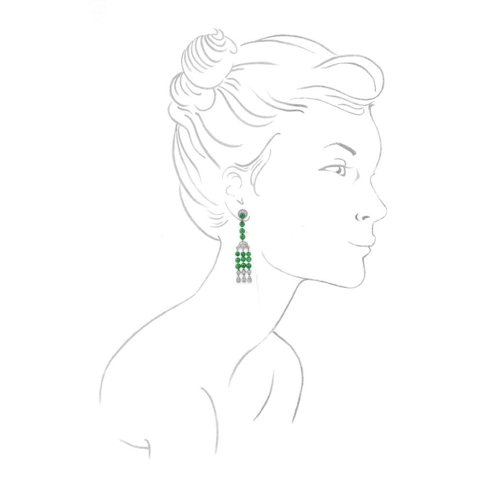Cartier Art Deco Jade and Diamond Set